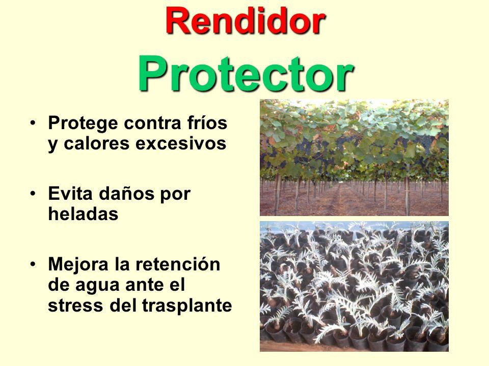 Rendidor Protector Protege contra fríos y calores excesivos Evita daños por heladas Mejora la retención de agua ante el stress del trasplante