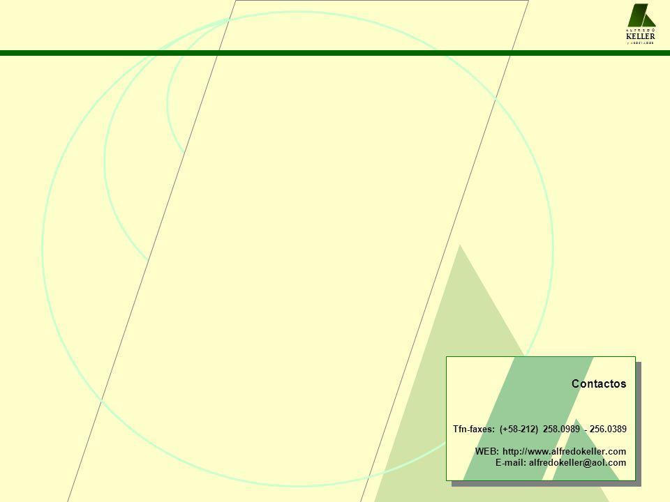 Contactos Tfn-faxes: (+58-212) 258.0989 - 256.0389 WEB: http://www.alfredokeller.com E-mail: alfredokeller@aol.com A L F R E D O KELLER y A S O C I A