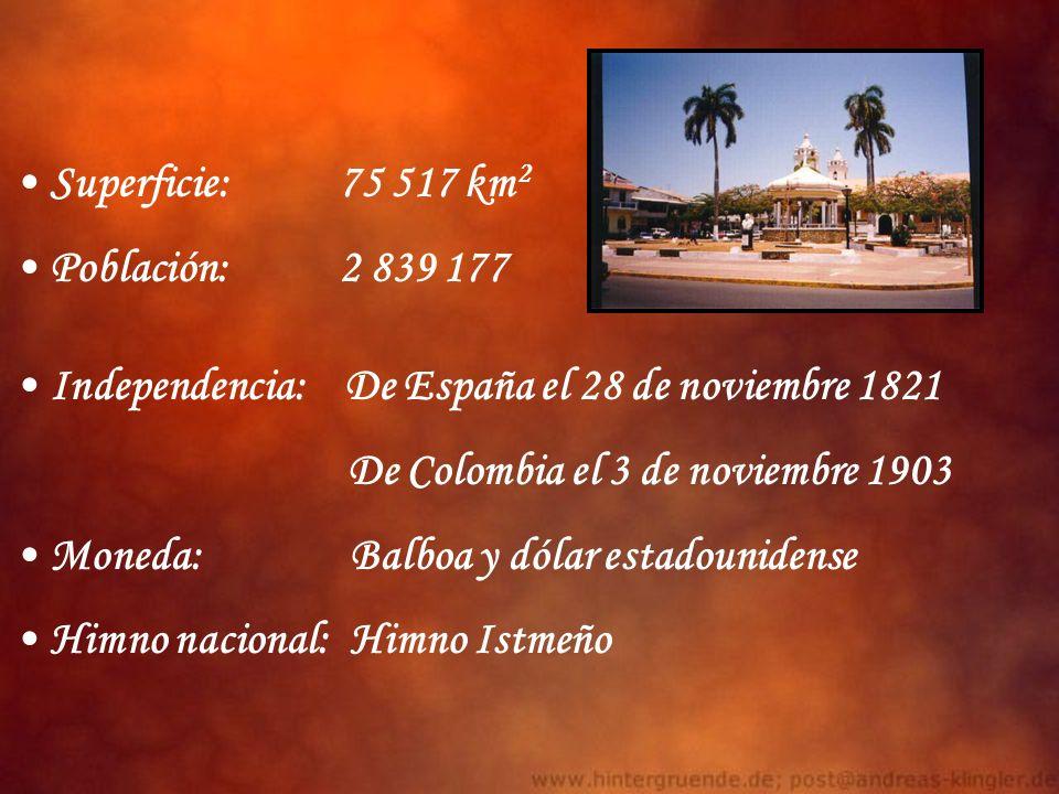 Independencia: De España el 28 de noviembre 1821 De Colombia el 3 de noviembre 1903 Moneda: Balboa y dólar estadounidense Himno nacional: Himno Istmeñ