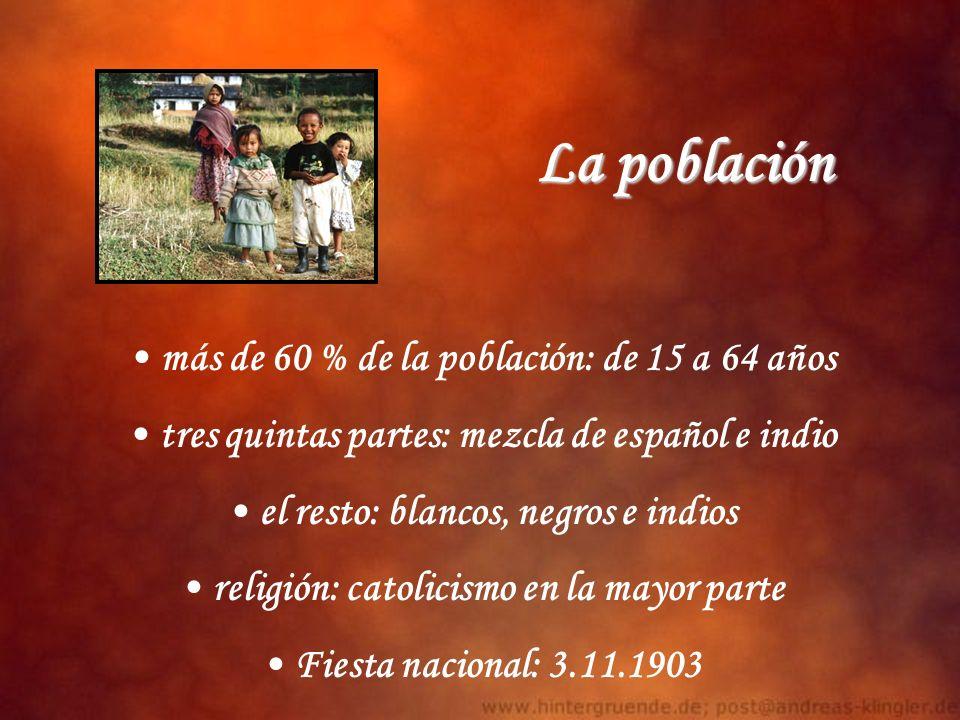 La población más de 60 % de la población: de 15 a 64 años tres quintas partes: mezcla de español e indio el resto: blancos, negros e indios religión: