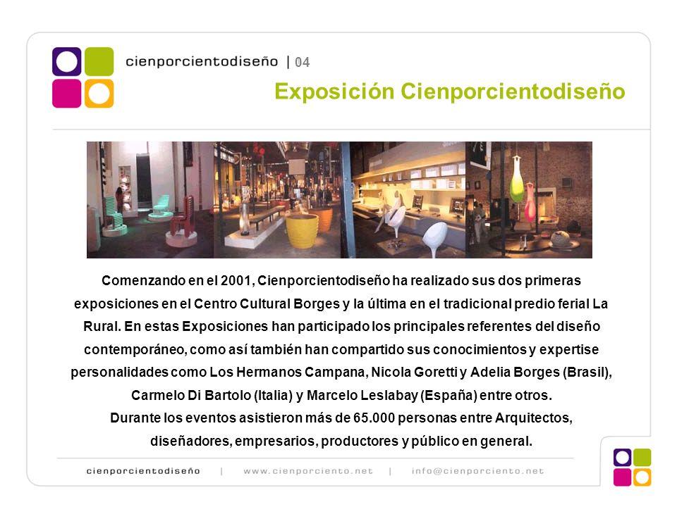 Comenzando en el 2001, Cienporcientodiseño ha realizado sus dos primeras exposiciones en el Centro Cultural Borges y la última en el tradicional predio ferial La Rural.