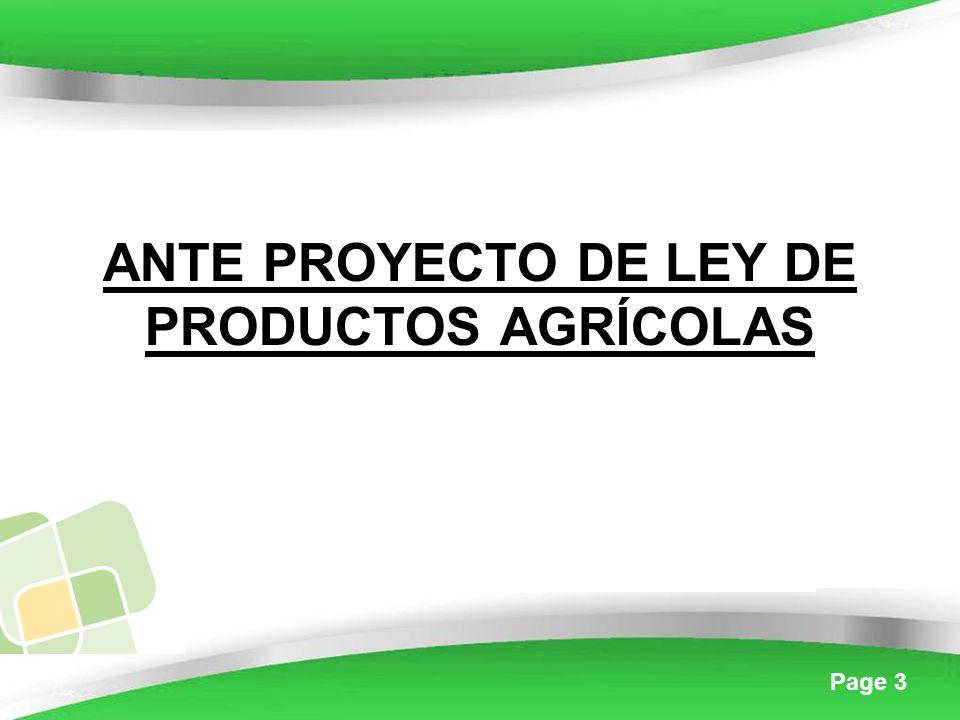 Page 3 ANTE PROYECTO DE LEY DE PRODUCTOS AGRÍCOLAS