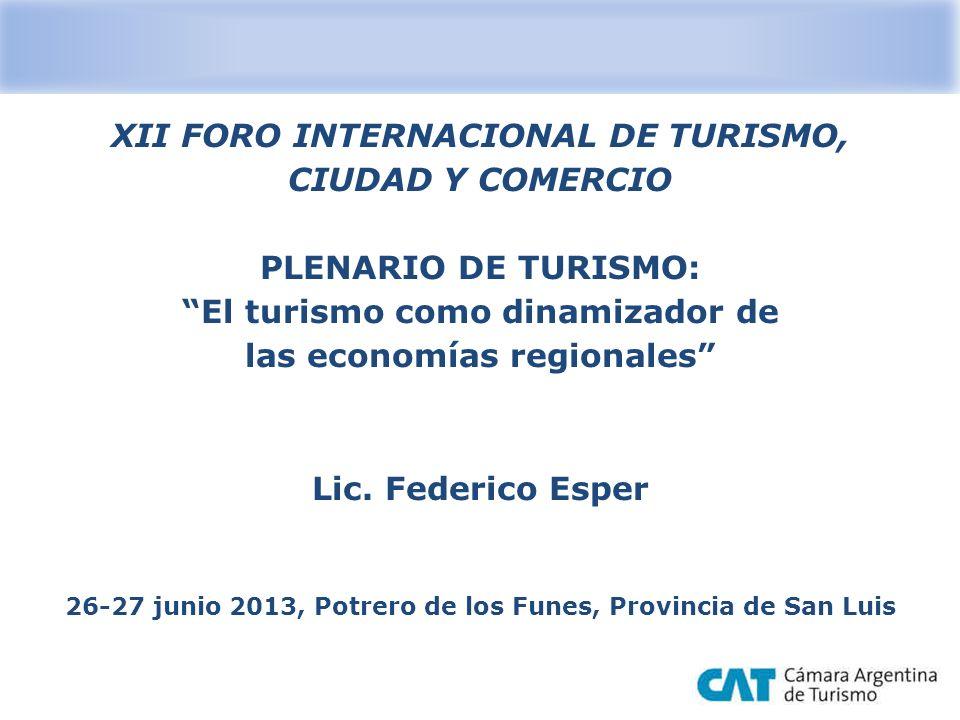 XII FORO INTERNACIONAL DE TURISMO, CIUDAD Y COMERCIO PLENARIO DE TURISMO: El turismo como dinamizador de las economías regionales Lic. Federico Esper
