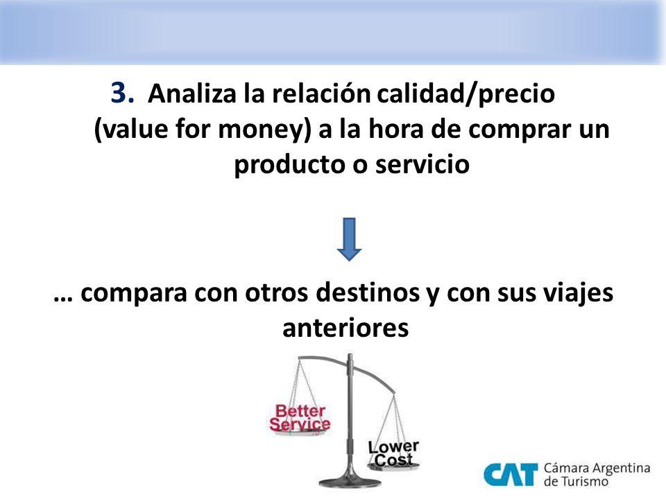3. Analiza la relación calidad/precio (value for money) a la hora de comprar un producto o servicio … compara con otros destinos y con sus viajes ante