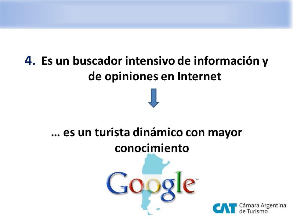 4. Es un buscador intensivo de información y de opiniones en Internet … es un turista dinámico con mayor conocimiento