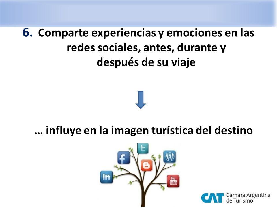 6. Comparte experiencias y emociones en las redes sociales, antes, durante y después de su viaje … influye en la imagen turística del destino