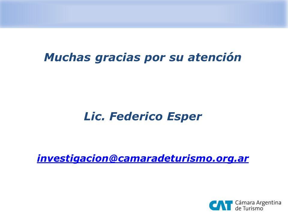 Muchas gracias por su atención Lic. Federico Esper investigacion@camaradeturismo.org.ar