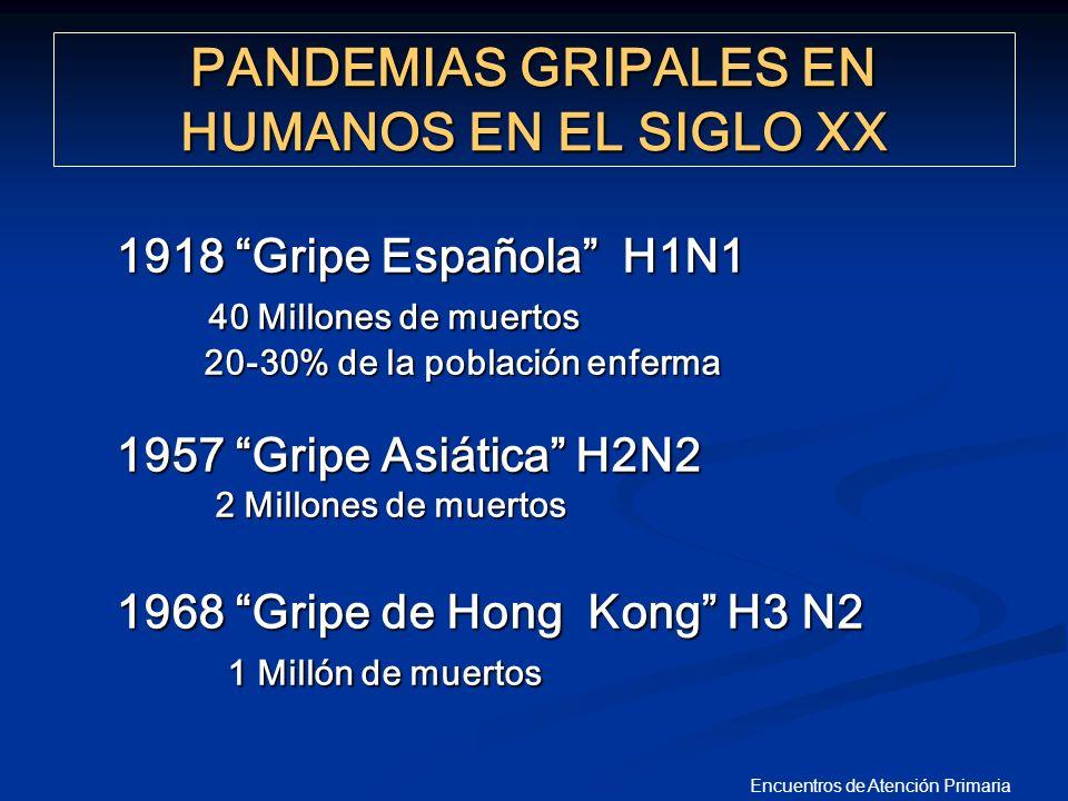 Encuentros de Atención Primaria PANDEMIAS GRIPALES EN HUMANOS EN EL SIGLO XX 1918 Gripe Española H1N1 40 Millones de muertos 40 Millones de muertos 20
