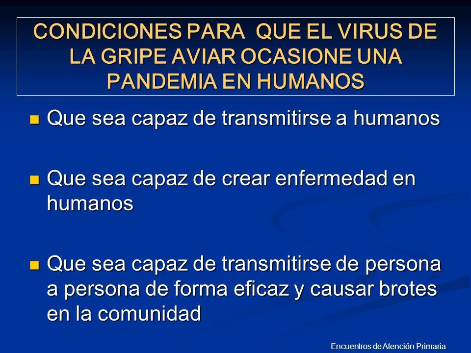 CONDICIONES PARA QUE EL VIRUS DE LA GRIPE AVIAR OCASIONE UNA PANDEMIA EN HUMANOS Que sea capaz de transmitirse a humanos Que sea capaz de transmitirse