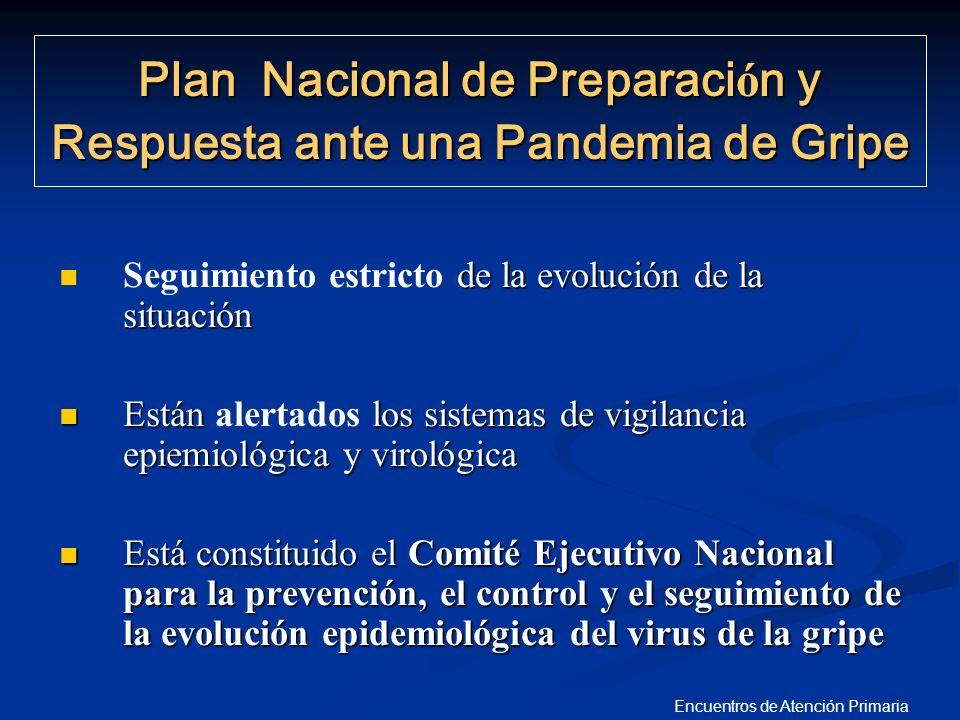 Encuentros de Atención Primaria Plan Nacional de Preparaci ó n y Respuesta ante una Pandemia de Gripe de la evolución de la situación Seguimiento estr
