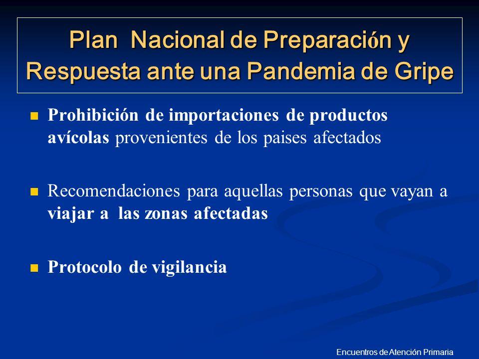 Encuentros de Atención Primaria Prohibición de importaciones de productos avícolas provenientes de los paises afectados Recomendaciones para aquellas
