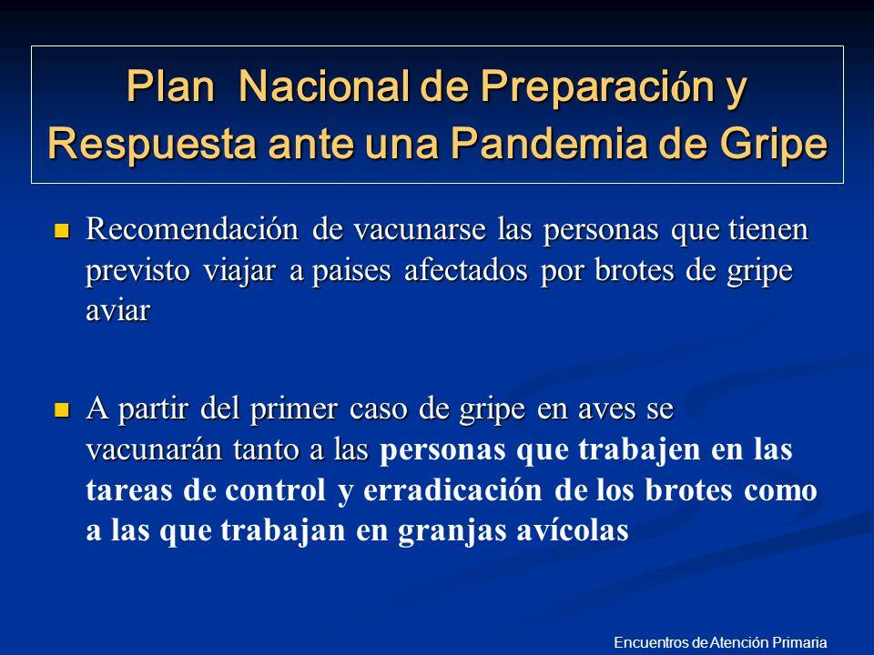 Encuentros de Atención Primaria Recomendación de vacunarse las personas que tienen previsto viajar a paises afectados por brotes de gripe aviar Recome