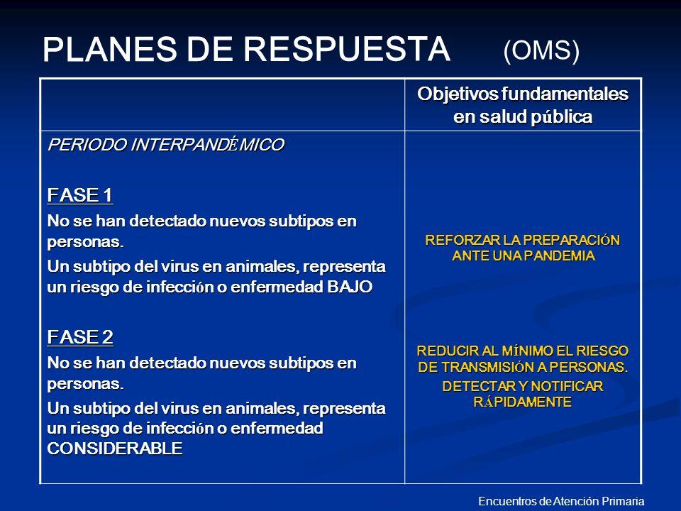 Encuentros de Atención Primaria Objetivos fundamentales en salud p ú blica PERIODO INTERPAND É MICO FASE 1 No se han detectado nuevos subtipos en pers