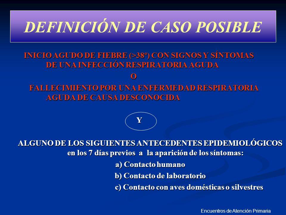 Encuentros de Atención Primaria DEFINICIÓN DE CASO POSIBLE INICIO AGUDO DE FIEBRE (>38º) CON SIGNOS Y SÍNTOMAS DE UNA INFECCIÓN RESPIRATORIA AGUDA INI