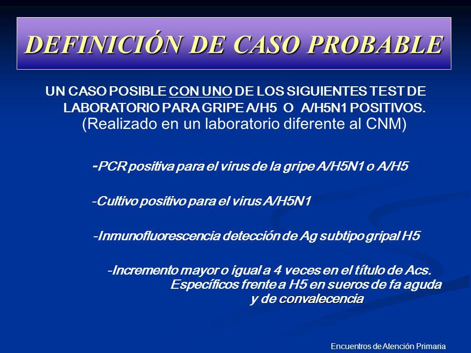 Encuentros de Atención Primaria DEFINICIÓN DE CASO PROBABLE UN CASO POSIBLE CON UNO DE LOS SIGUIENTES TEST DE LABORATORIO PARA GRIPE A/H5 O A/H5N1 POS