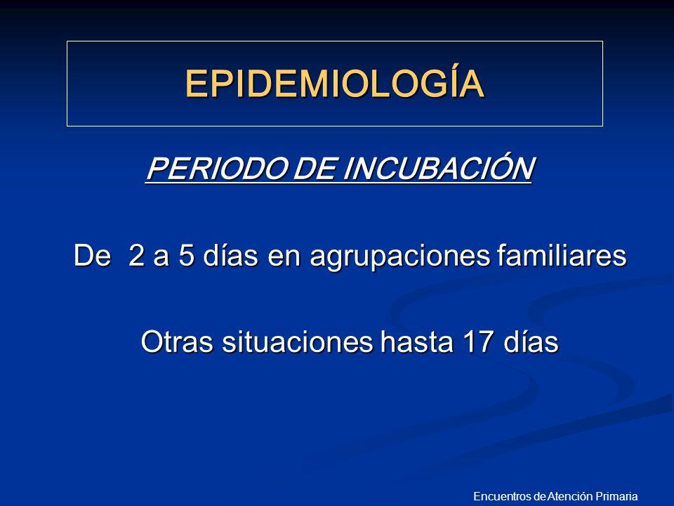 Encuentros de Atención Primaria PERIODO DE INCUBACIÓN De 2 a 5 días en agrupaciones familiares De 2 a 5 días en agrupaciones familiares Otras situacio