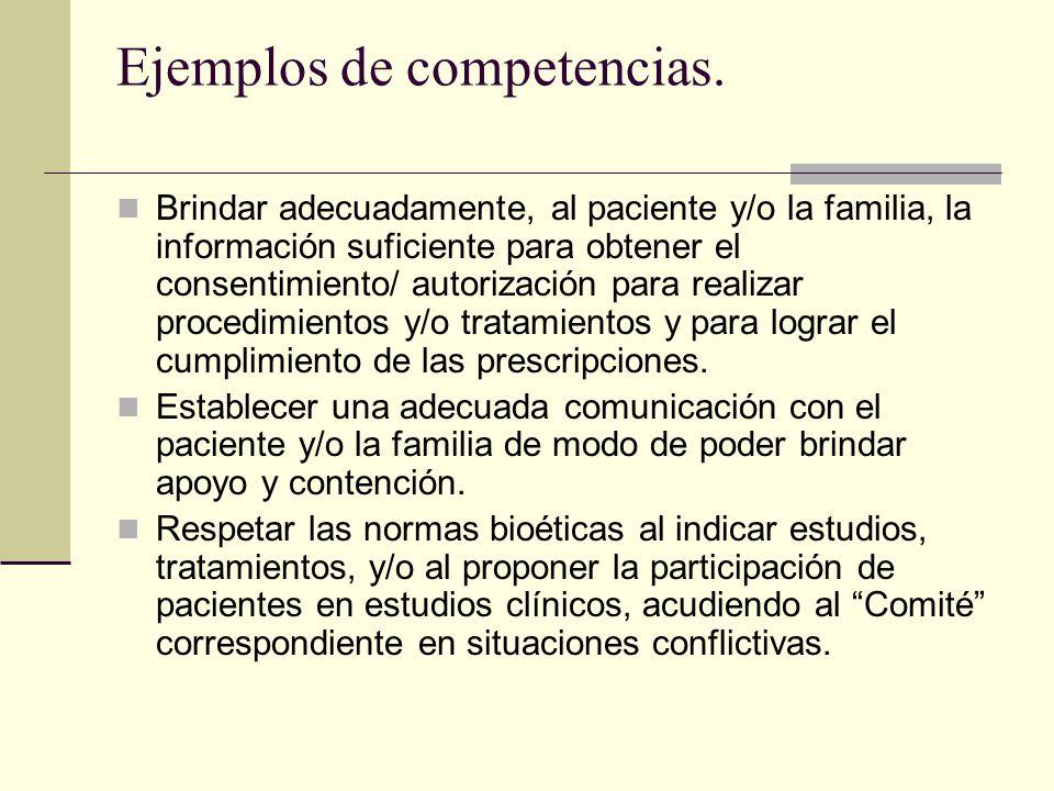 Ejemplos de competencias. Brindar adecuadamente, al paciente y/o la familia, la información suficiente para obtener el consentimiento/ autorización pa