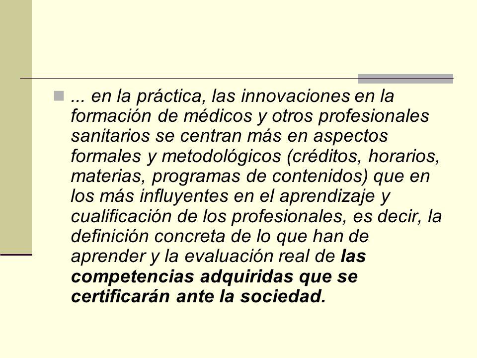 ... en la práctica, las innovaciones en la formación de médicos y otros profesionales sanitarios se centran más en aspectos formales y metodológicos (