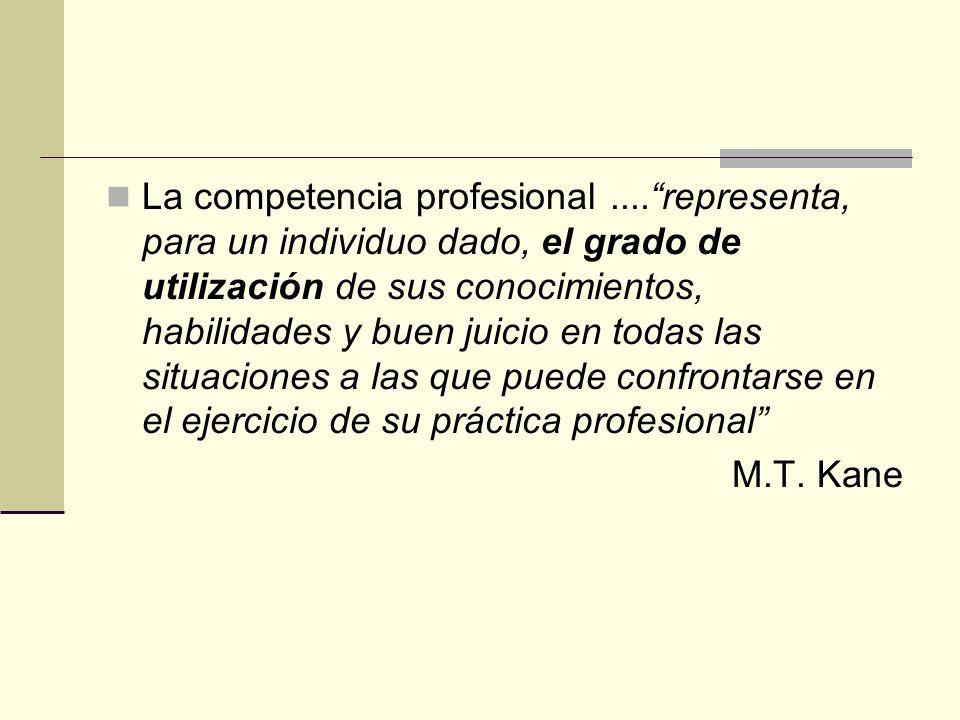 La competencia profesional....representa, para un individuo dado, el grado de utilización de sus conocimientos, habilidades y buen juicio en todas las
