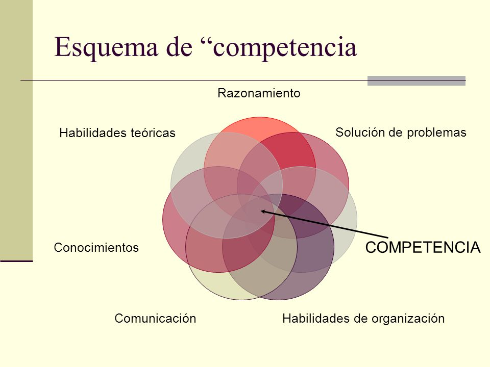 Esquema de competencia Razonamiento Solución de problemas COMPETENCIA Habilidades de organizaciónComunicación Conocimientos Habilidades teóricas