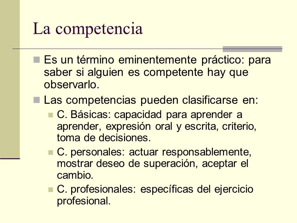 La competencia Es un término eminentemente práctico: para saber si alguien es competente hay que observarlo. Las competencias pueden clasificarse en: