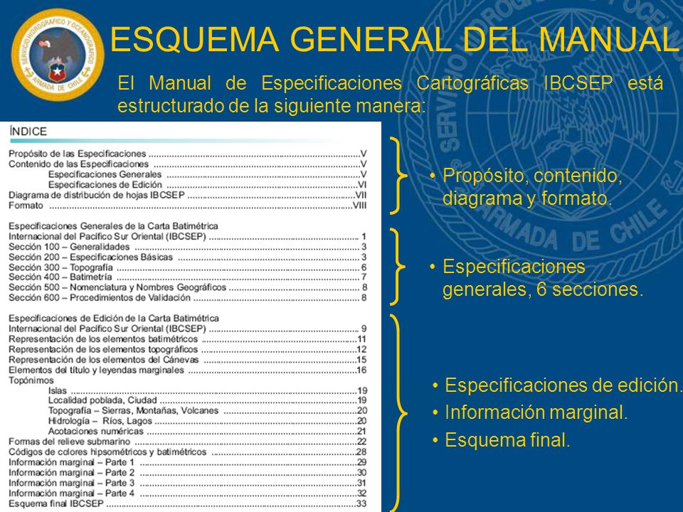ESQUEMA GENERAL DEL MANUAL El Manual de Especificaciones Cartográficas IBCSEP está estructurado de la siguiente manera: Propósito, contenido, diagrama y formato.