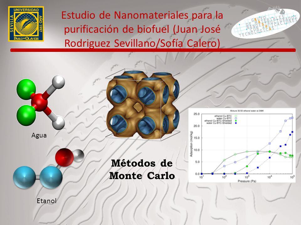 Estudio de Nanomateriales para la purificación de biofuel (Juan José Rodriguez Sevillano/Sofía Calero) Agua Etanol Métodos de Monte Carlo