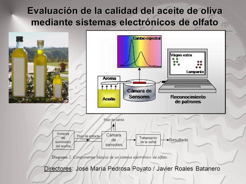 Evaluación de la calidad del aceite de oliva mediante sistemas electrónicos de olfato Sistema de suministro del aroma Flujo de entrada Cámara de senso