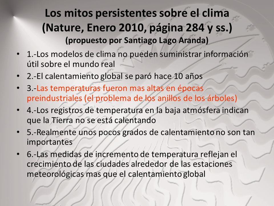 Los mitos persistentes sobre el clima (Nature, Enero 2010, página 284 y ss.) (propuesto por Santiago Lago Aranda) 1.-Los modelos de clima no pueden su