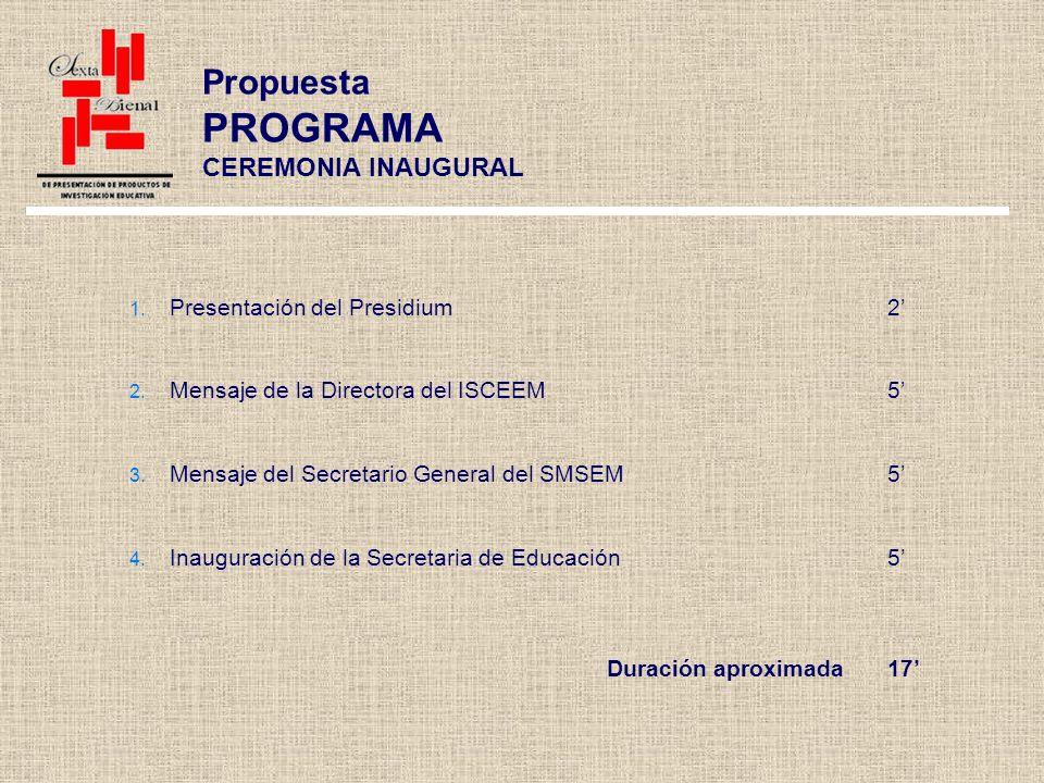 Propuesta PROGRAMA CEREMONIA INAUGURAL Presentación del Presidium2 Mensaje de la Directora del ISCEEM5 Mensaje del Secretario General del SMSEM5 Inauguración de la Secretaria de Educación5 Duración aproximada17