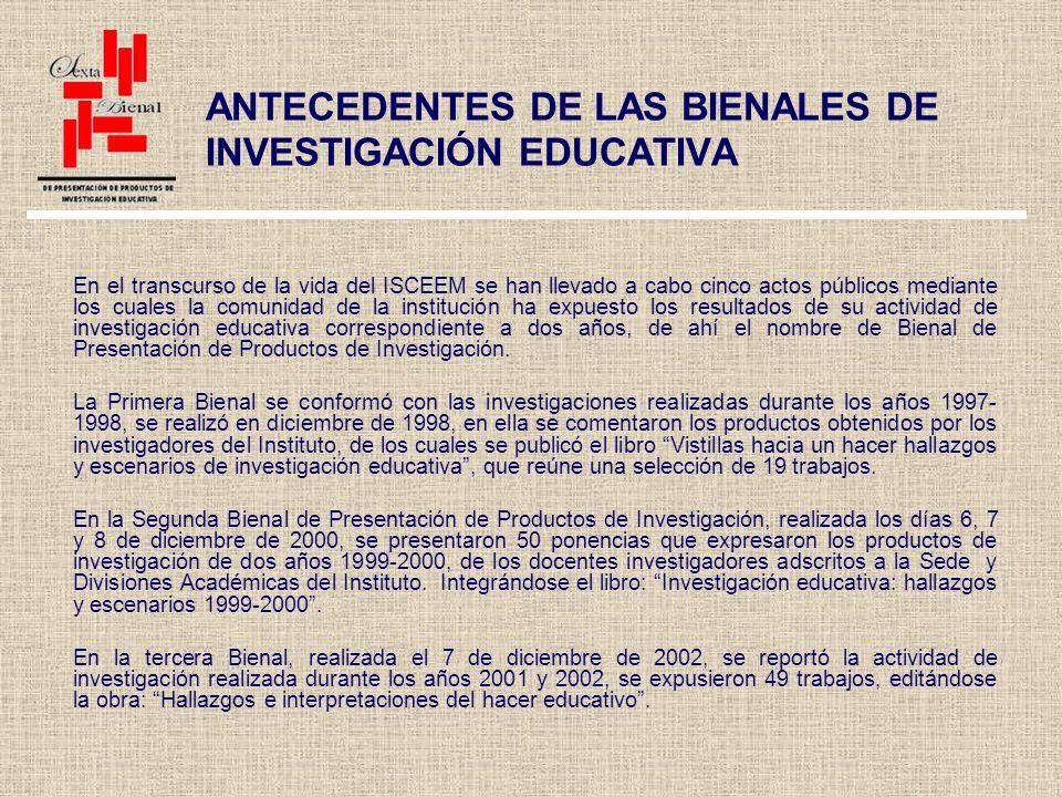 La Cuarta Bienal de Investigación tuvo lugar los días 2, 3 y 4 de marzo de 2005, en ella se expusieron 62 investigaciones realizadas en los años 2003 y 2004, editándose en memoria electrónica.
