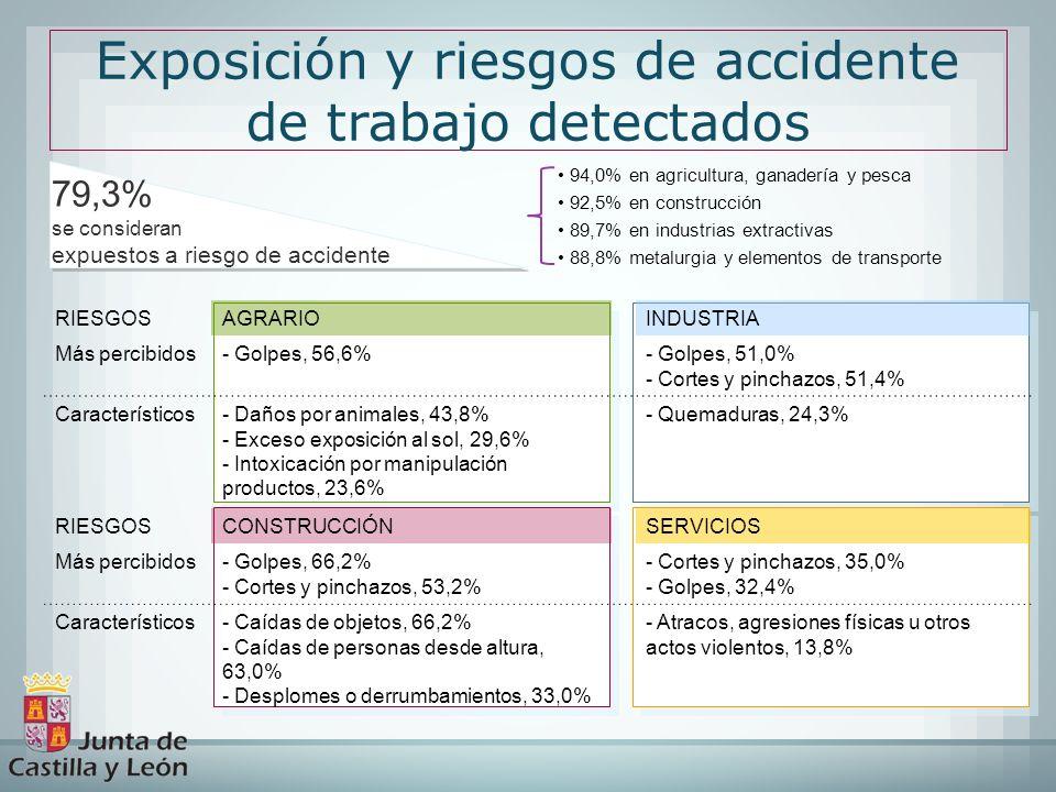 Exposición y riesgos de accidente de trabajo detectados 94,0% en agricultura, ganadería y pesca 92,5% en construcción 89,7% en industrias extractivas