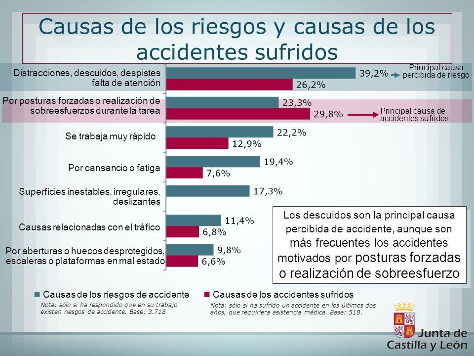 Causas de los riesgos de accidente Causas de los accidentes sufridos Distracciones, descuidos, despistes falta de atención Por posturas forzadas o rea