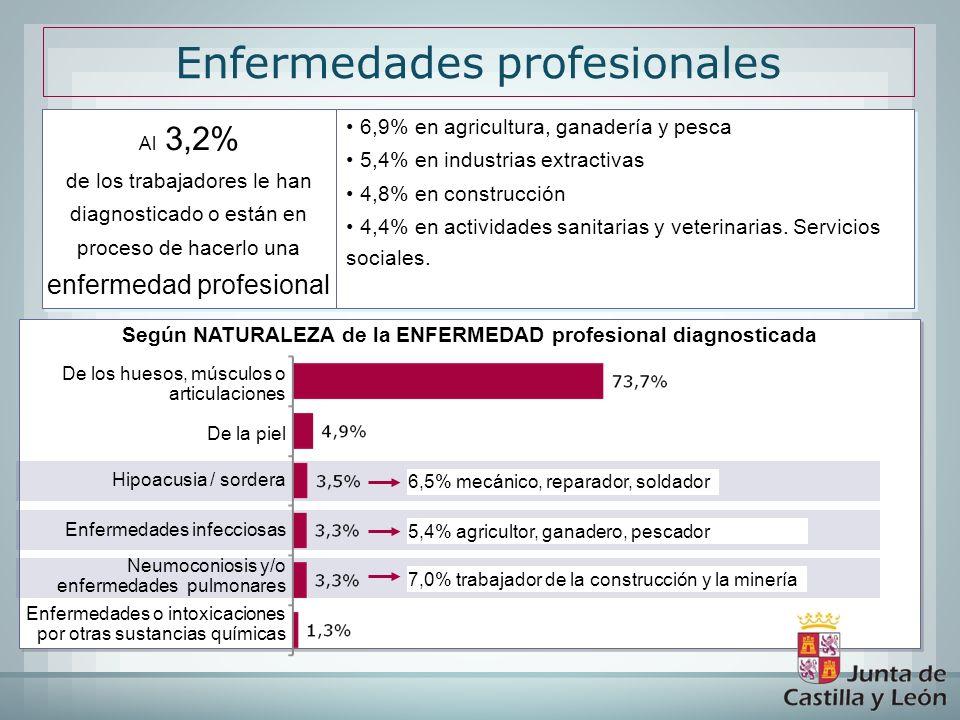 Enfermedades profesionales 6,9% en agricultura, ganadería y pesca 5,4% en industrias extractivas 4,8% en construcción 4,4% en actividades sanitarias y