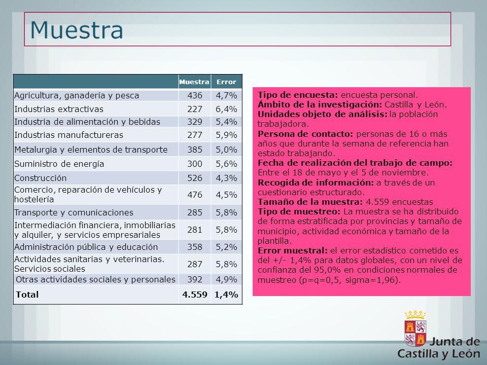 Tipo de encuesta: encuesta personal. Ámbito de la investigación: Castilla y León. Unidades objeto de análisis: la población trabajadora. Persona de co