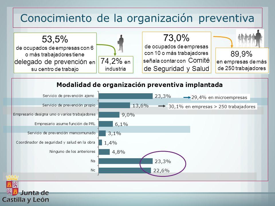 Conocimiento de la organización preventiva 53,5% de ocupados de empresas con 6 o más trabajadores tiene delegado de prevención en su centro de trabajo