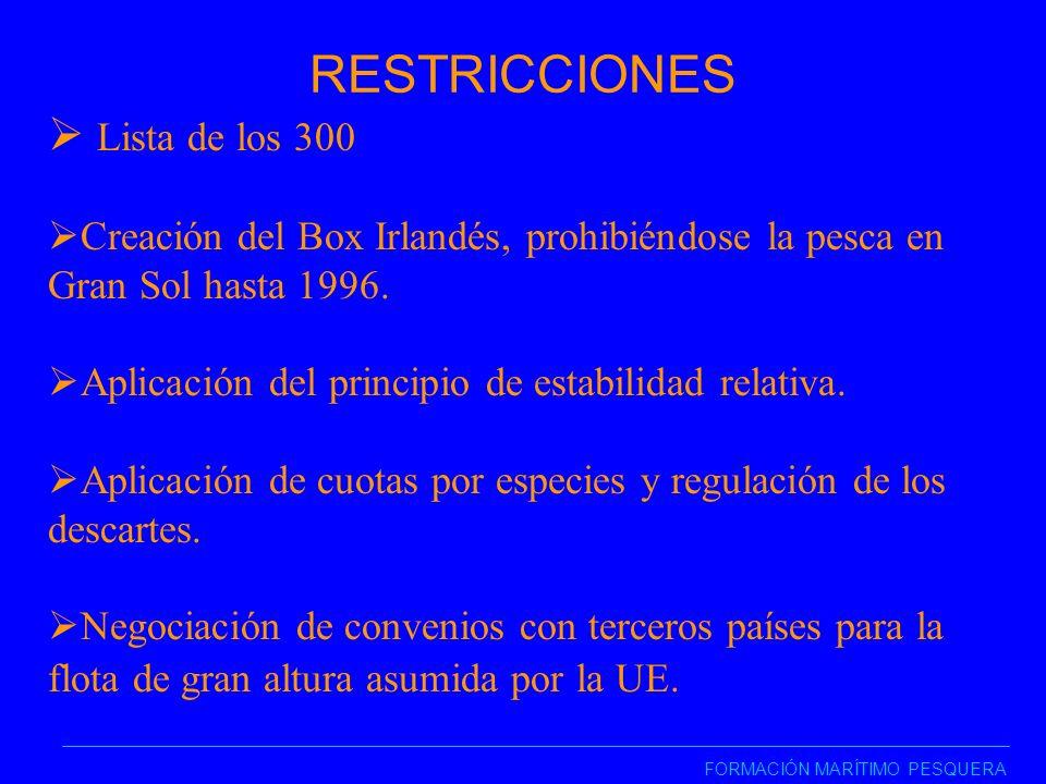 RESTRICCIONES FORMACIÓN MARÍTIMO PESQUERA Lista de los 300 Creación del Box Irlandés, prohibiéndose la pesca en Gran Sol hasta 1996.