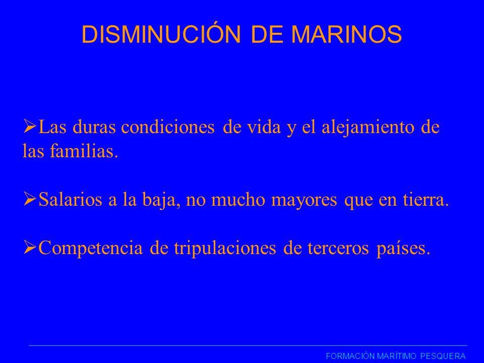 DISMINUCIÓN DE MARINOS FORMACIÓN MARÍTIMO PESQUERA Las duras condiciones de vida y el alejamiento de las familias.