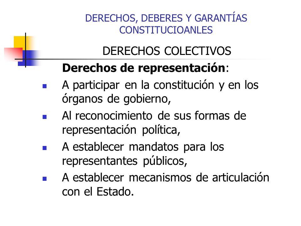 DERECHOS COLECTIVOS Derechos de representación: A participar en la constitución y en los órganos de gobierno, Al reconocimiento de sus formas de representación política, A establecer mandatos para los representantes públicos, A establecer mecanismos de articulación con el Estado.