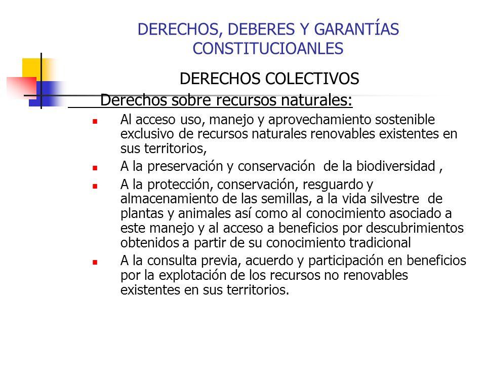 DERECHOS COLECTIVOS Derechos sobre recursos naturales: Al acceso uso, manejo y aprovechamiento sostenible exclusivo de recursos naturales renovables e