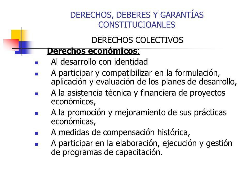 DERECHOS COLECTIVOS Derechos económicos: Al desarrollo con identidad A participar y compatibilizar en la formulación, aplicación y evaluación de los p
