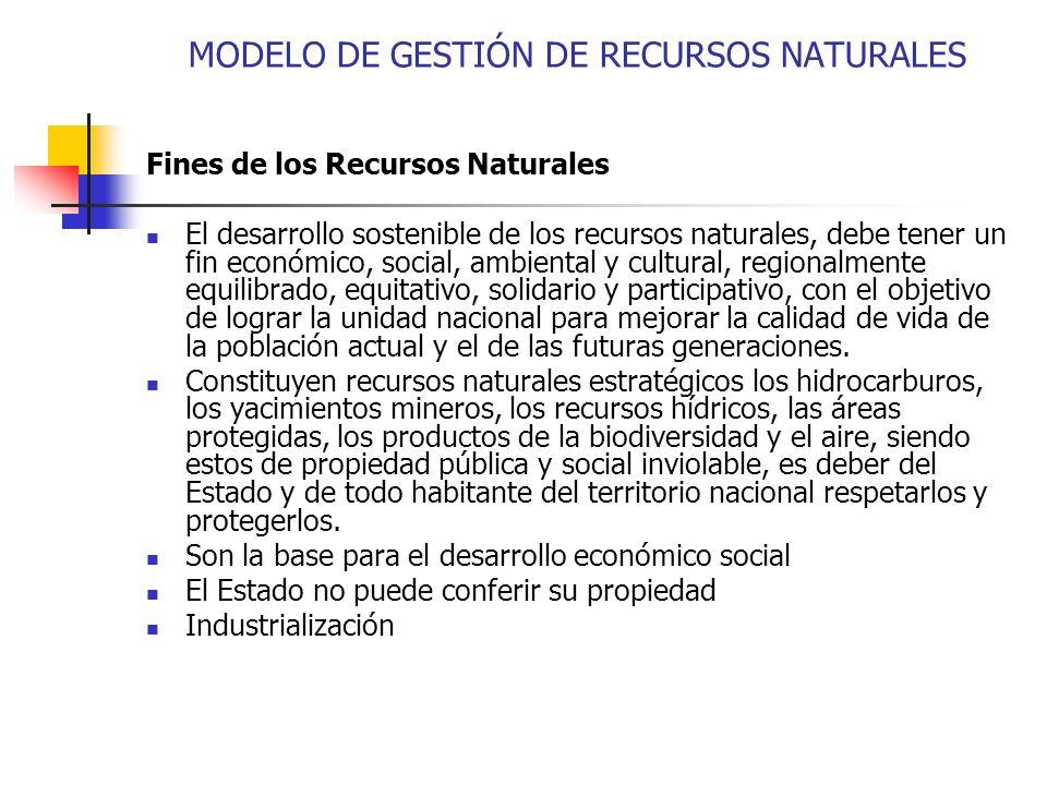 MODELO DE GESTIÓN DE RECURSOS NATURALES Fines de los Recursos Naturales El desarrollo sostenible de los recursos naturales, debe tener un fin económic