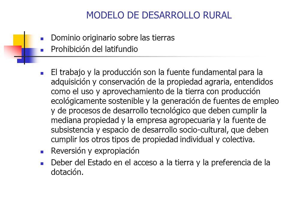 MODELO DE DESARROLLO RURAL Dominio originario sobre las tierras Prohibición del latifundio El trabajo y la producción son la fuente fundamental para l