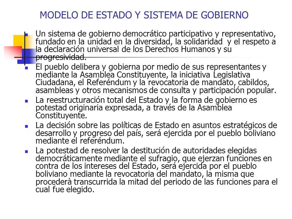 Un sistema de gobierno democrático participativo y representativo, fundado en la unidad en la diversidad, la solidaridad y el respeto a la declaración