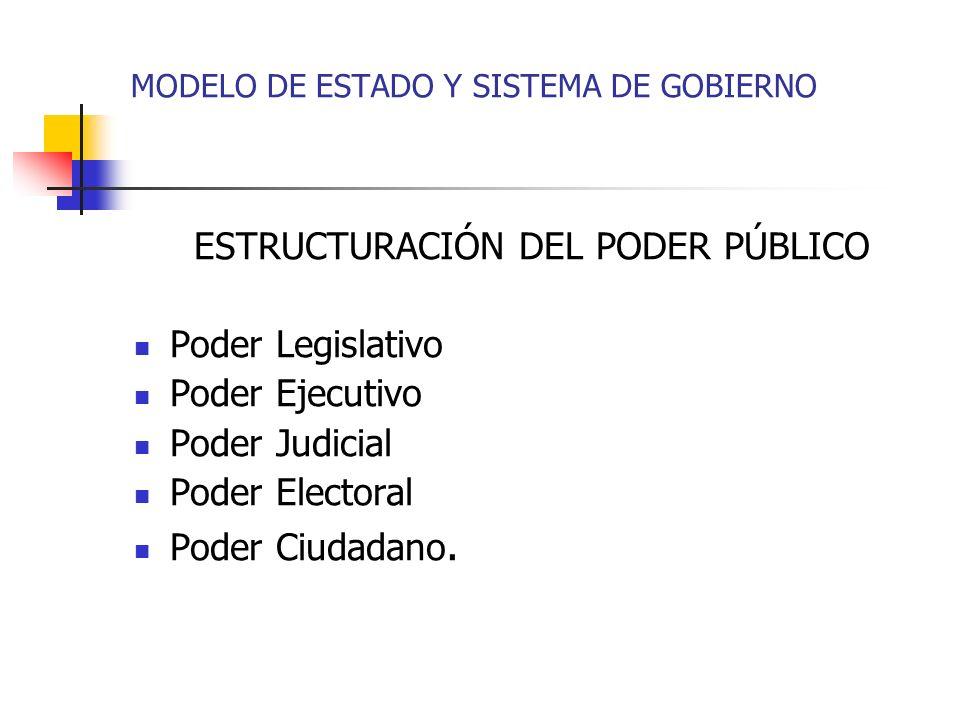 ESTRUCTURACIÓN DEL PODER PÚBLICO Poder Legislativo Poder Ejecutivo Poder Judicial Poder Electoral Poder Ciudadano. MODELO DE ESTADO Y SISTEMA DE GOBIE