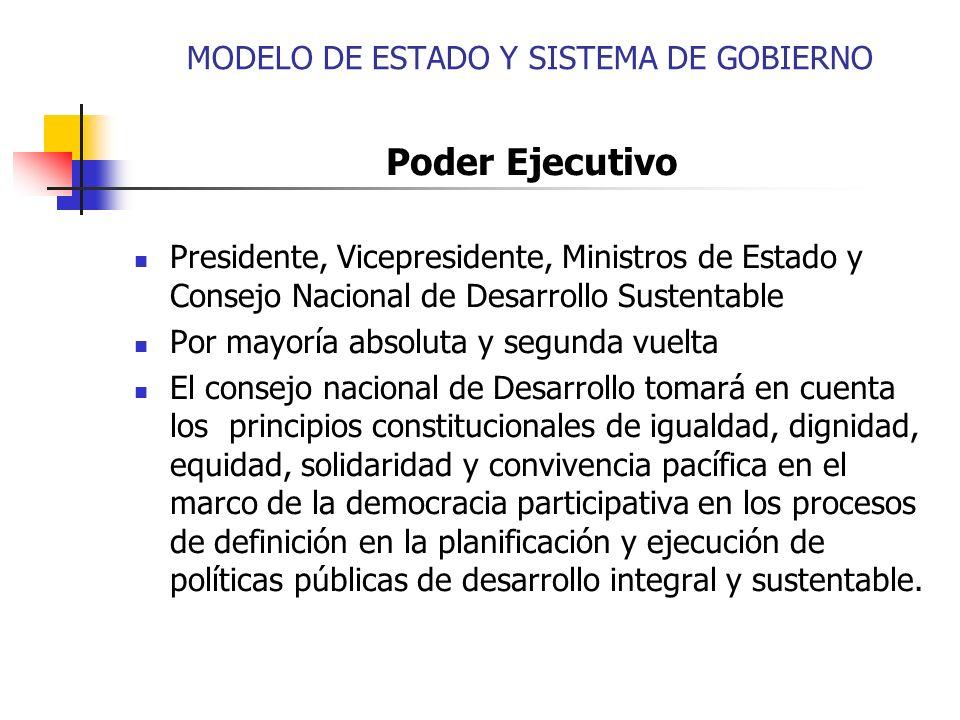 Poder Ejecutivo Presidente, Vicepresidente, Ministros de Estado y Consejo Nacional de Desarrollo Sustentable Por mayoría absoluta y segunda vuelta El