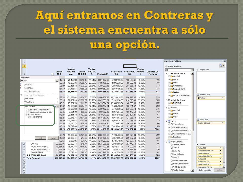 Aquí entramos en Contreras y el sistema encuentra a sólo una opción.