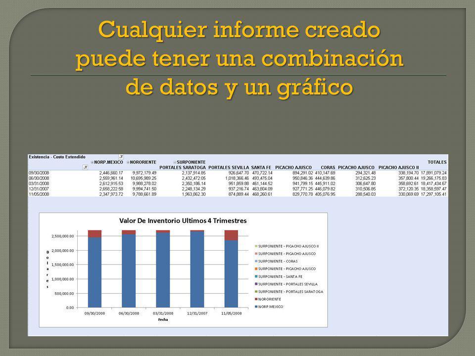 Cualquier informe creado puede tener una combinación de datos y un gráfico