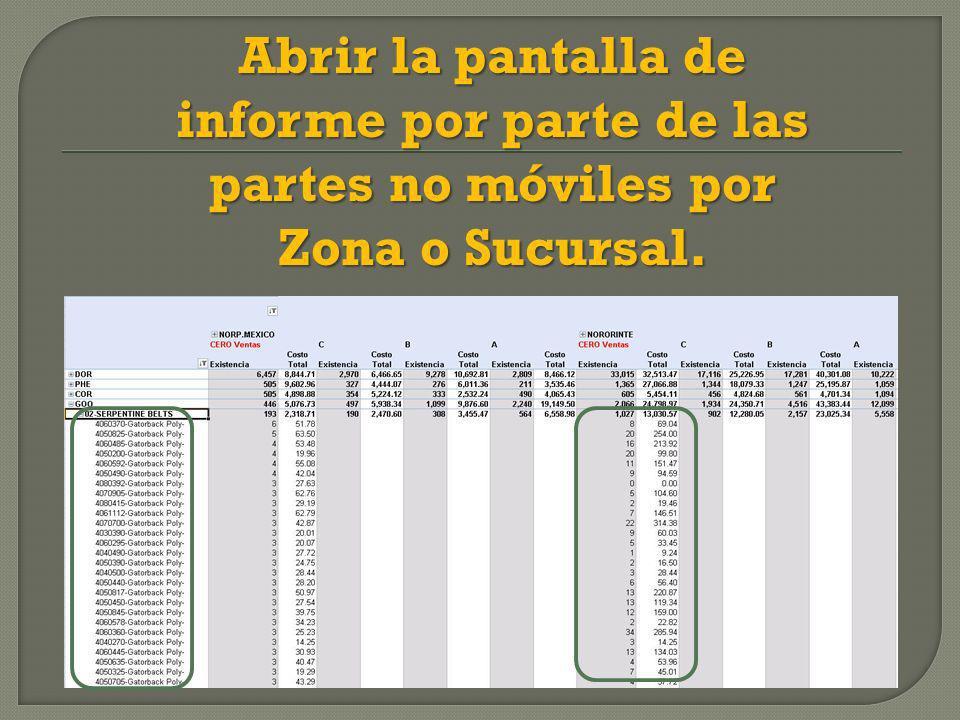 Abrir la pantalla de informe por parte de las partes no móviles por Zona o Sucursal.