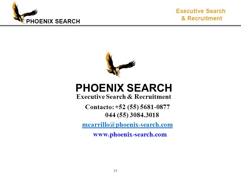 PHOENIX SEARCH Executive Search & Recruitment 13 PHOENIX SEARCH Executive Search & Recruitment Contacto: +52 (55) 5681-0877 044 (55) 3084.3018 mcarril